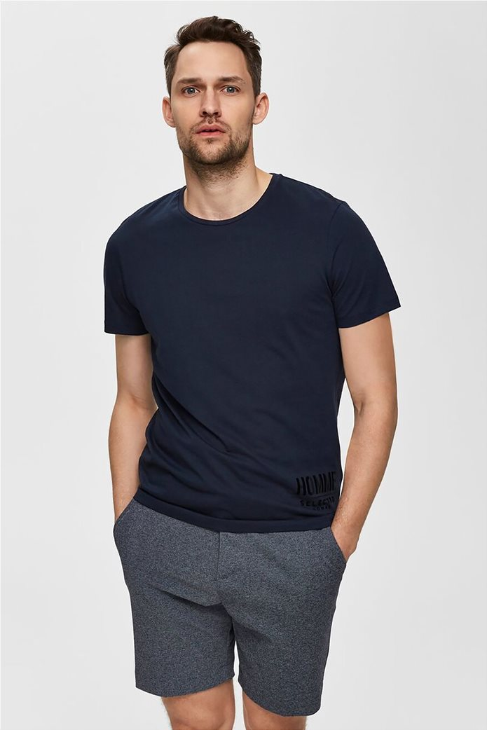Selected ανδρικό T-shirt μονόχρωμο με letter print 0