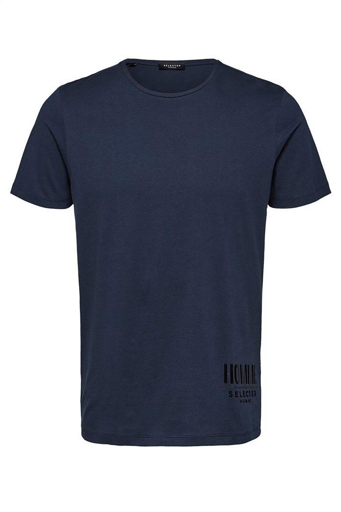 Selected ανδρικό T-shirt μονόχρωμο με letter print 4