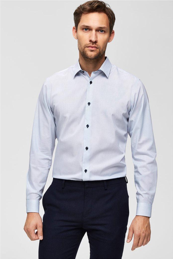 Selected ανδρικό πουκάμισο με λεπτομέρειες σε αντίθεση 4