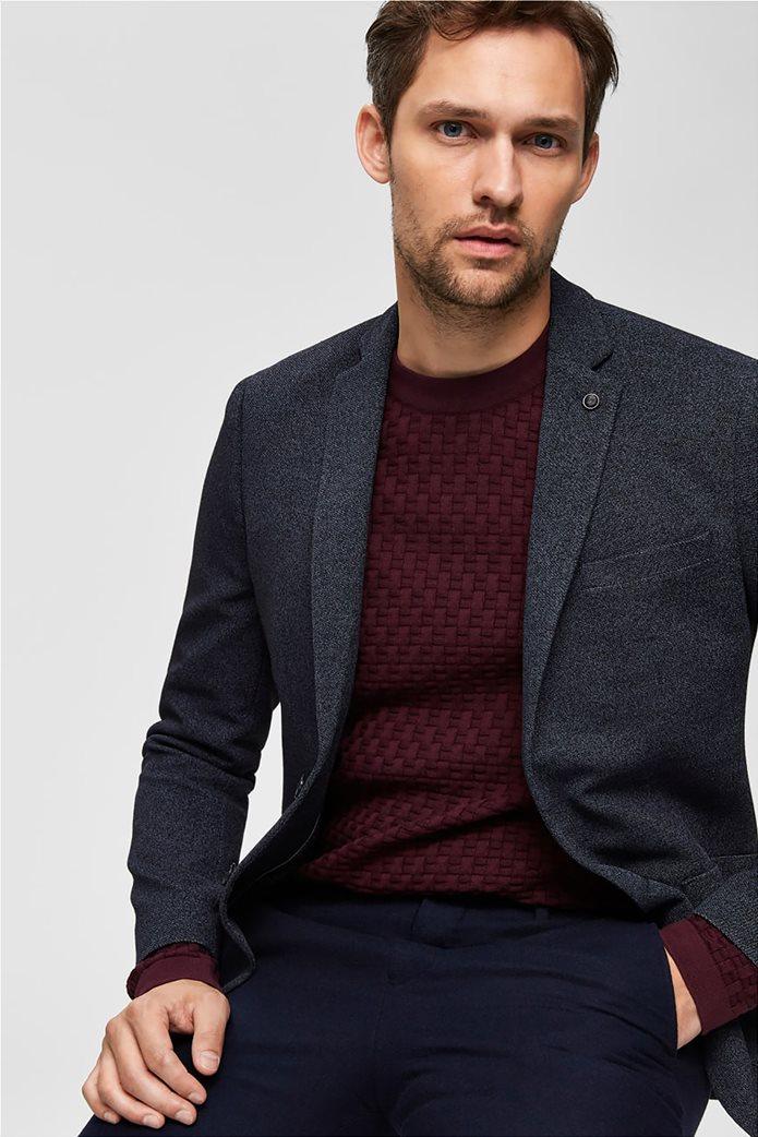 Selected ανδρικό σακάκι σε melange look δίκουμπο Slim fit 1