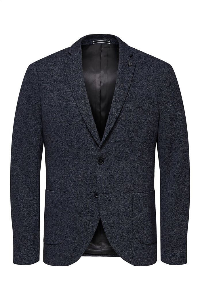 Selected ανδρικό σακάκι σε melange look δίκουμπο Slim fit 4