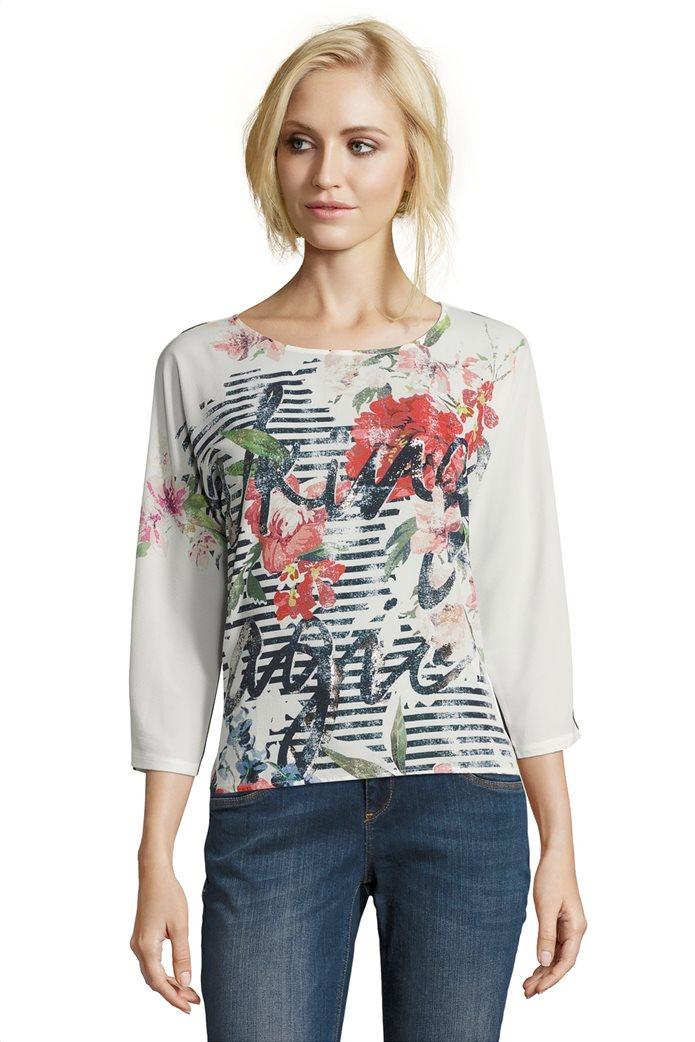 BΕΤΤΥ & CO Γυναικεία μπλούζα με φλοράλ και letter print 0