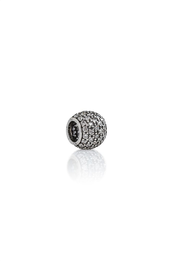 Tedora ασημένιο στρογγυλό charm με ζιργκόν White Paved Diamonds 0