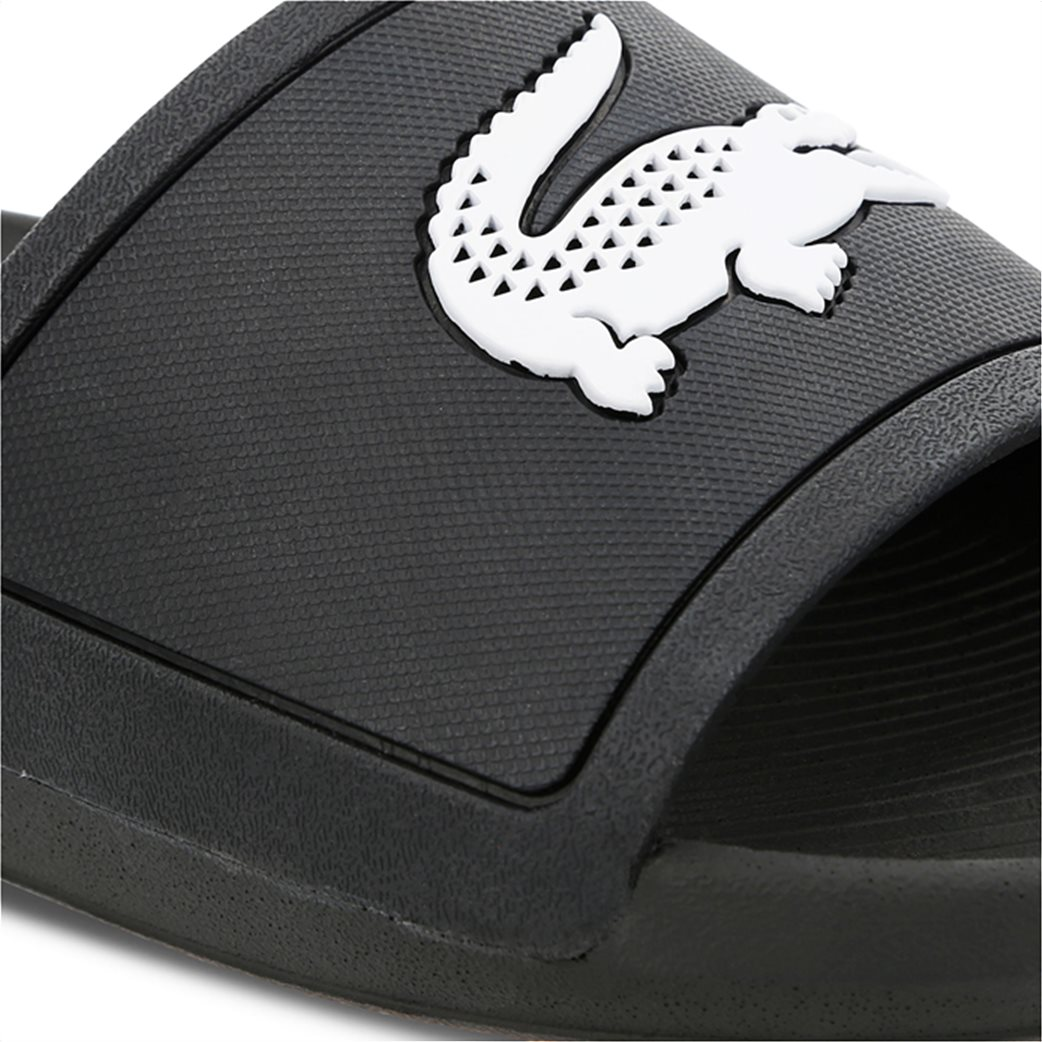Lacoste ανδρικές σαγιονάρες slide με λογότυπο Croco Slide Μαύρο 5