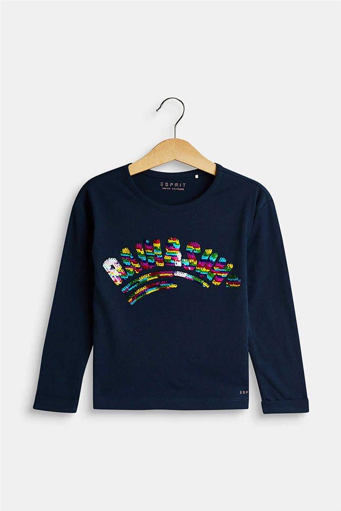 Esprit παιδική μπλούζα μακρυμάνικη με παγιέτα 0