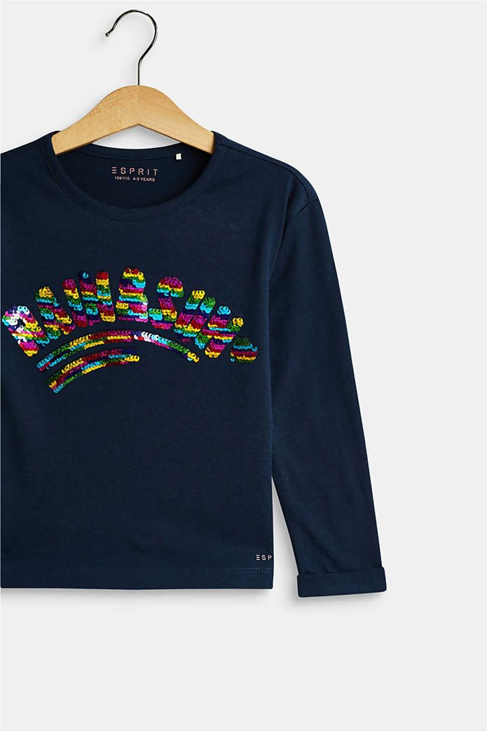 Esprit παιδική μπλούζα μακρυμάνικη με παγιέτα 2