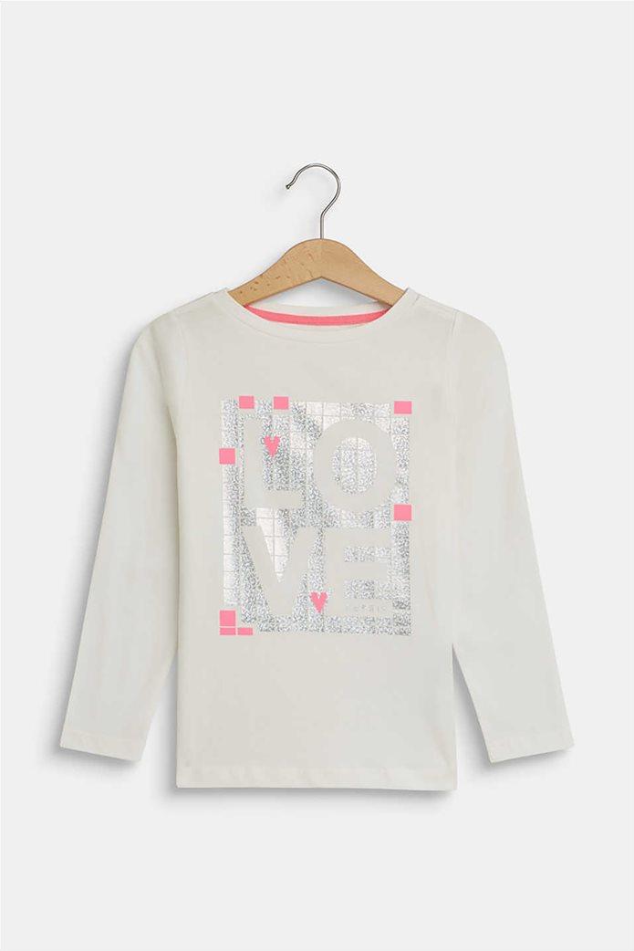 "Esprit παιδική μπλούζα μακρυμάνικη με metallic ""Love"" print (2-9 ετών) 0"