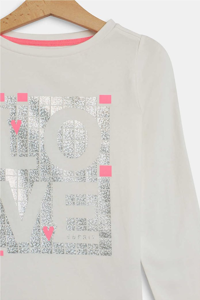 "Esprit παιδική μπλούζα μακρυμάνικη με metallic ""Love"" print (2-9 ετών) 2"