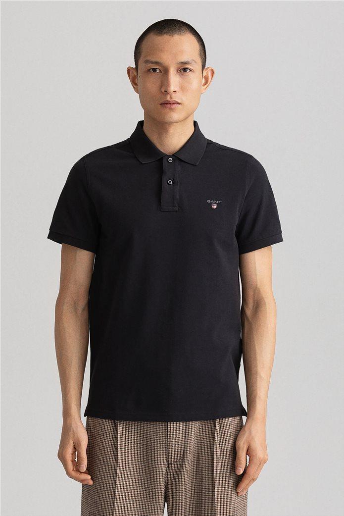 Gant ανδρική πικέ πόλο μπλούζα μονόχρωμη 0