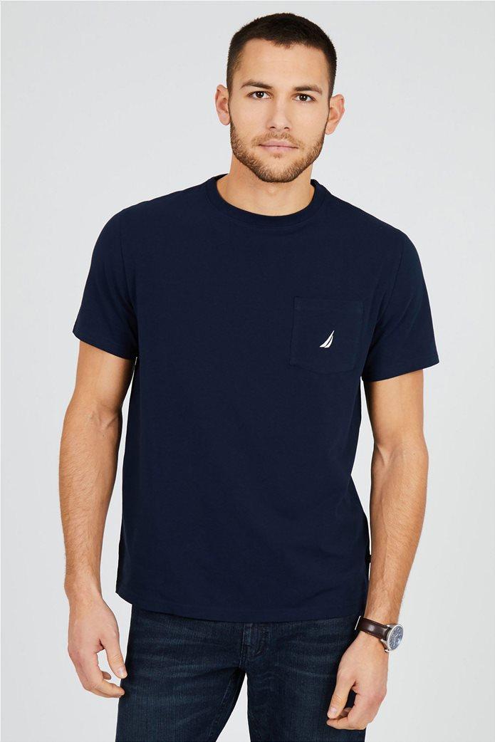 Nautica ανδρικό T-shirt μονόχρωμο με τσέπη 0