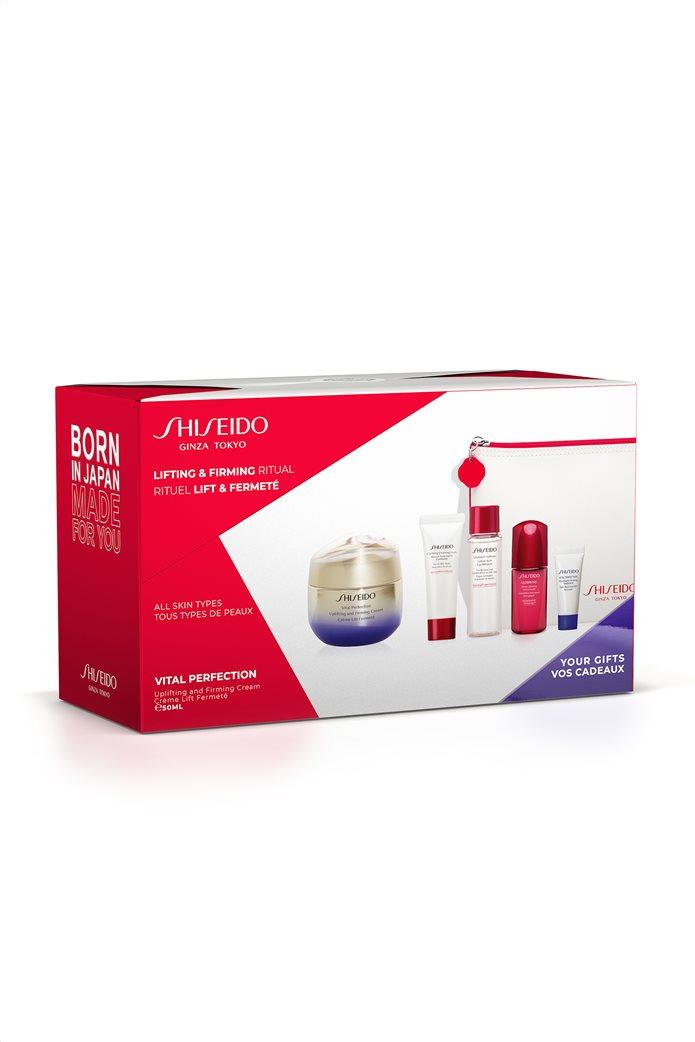 Shiseido Vital Perfection Uplifting & Firming Cream 50 ml Pouch Set & Clarifying Cleansing Foam 15 ml & Treatment Softener 30 ml & Ultimune Power Infusing Concentrate & Vital Perfection Overnight Firming Treatment 5 ml 0