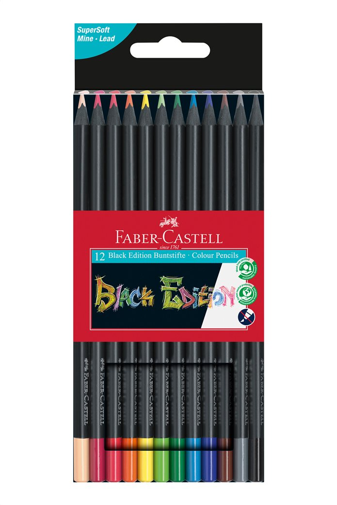 Faber-Castell Ξυλομπογιές Black Edition Σετ 12 χρώματα 0