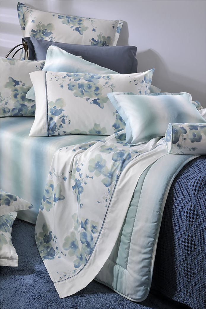 "DOWN TOWN Home σετ σεντόνια υπέρδιπλα με floral print ""748"" (4 τεμάχια) Γαλάζιο 1"