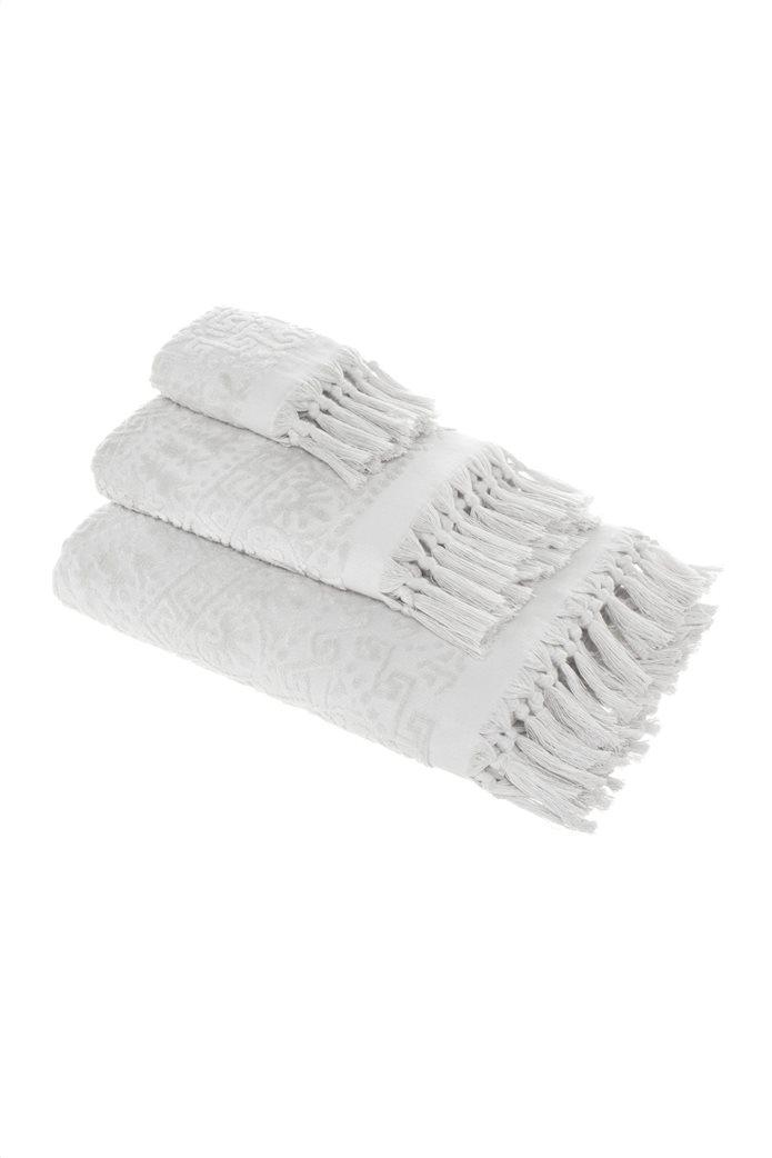 "Coincasa πετσέτα προσώπου με ανάγλυφο σχέδιο και κρόσσια ""Thermae"" 50 x 100 cm 0"