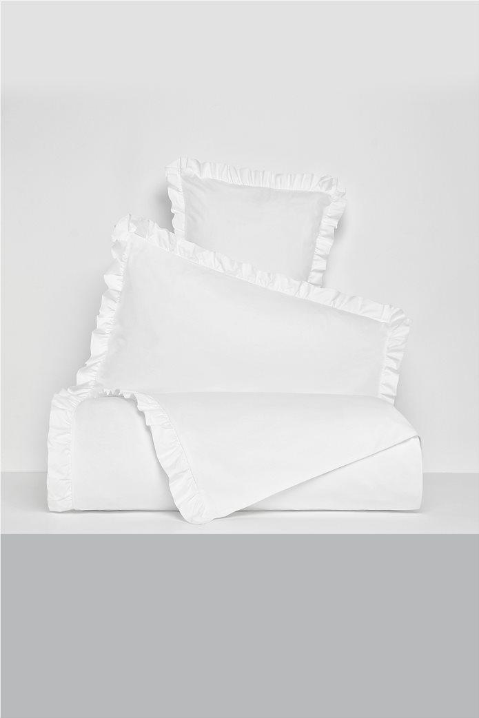 Coincasa υπέρδιπλη παπλωματοθήκη μονόχρωμη με βολάν 220 x 240 cm Λευκό 0