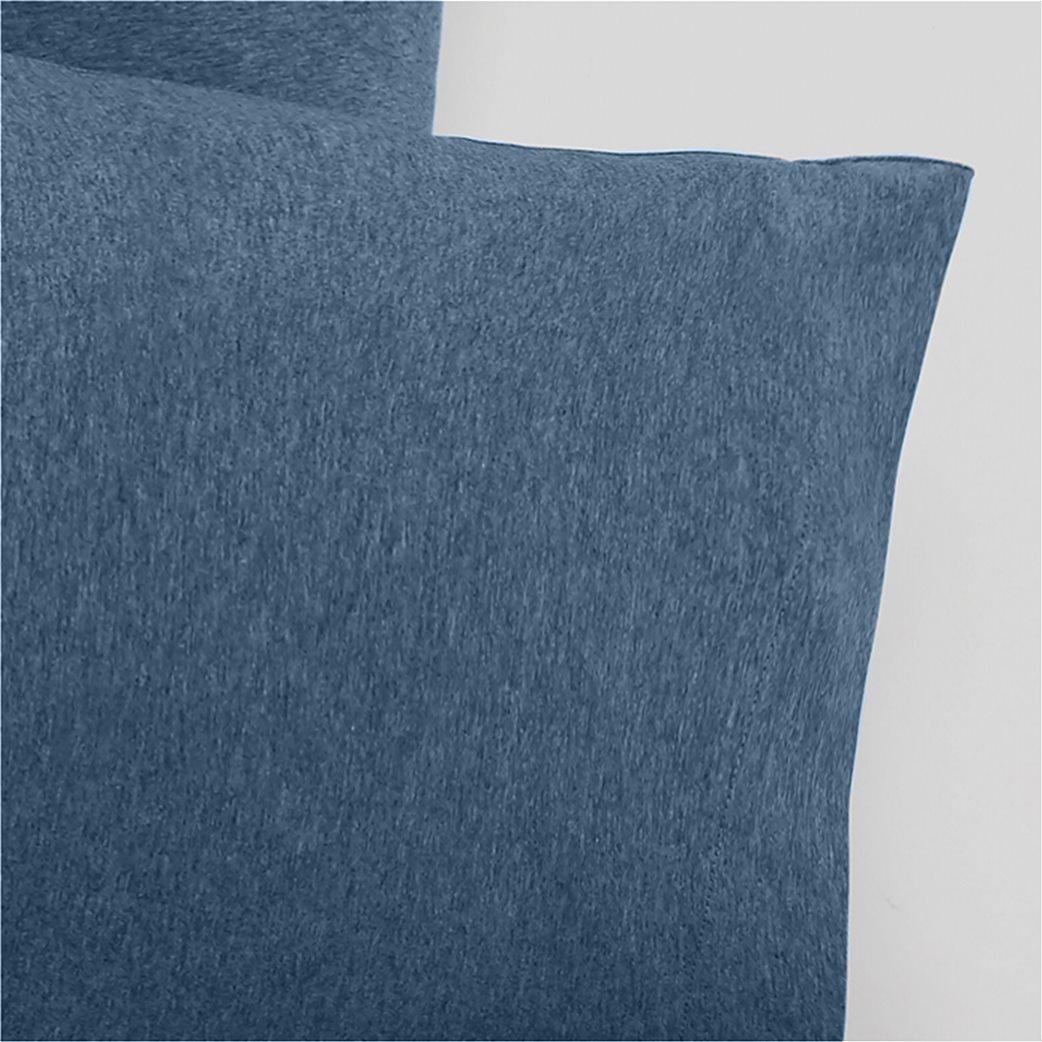 Coincasa σετ διπλής παπλωματοθήκης μονόχρωμης melange (3 τεμάχια) Μπλε 1