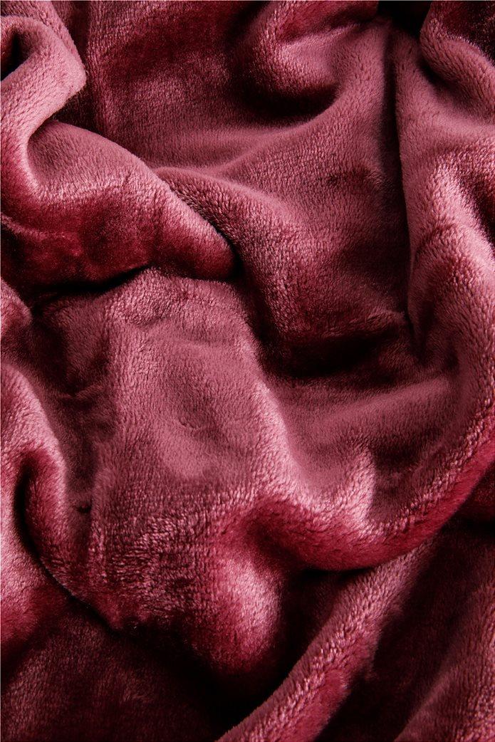 Coincasa κουβέρτα fleece μονόχρωμη 200 x 150 cm Μπορντό 1