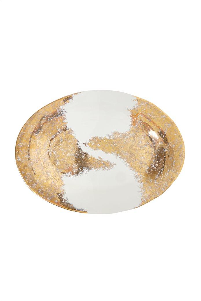 Coincasa κεραμική πιατέλα σερβιρίσματος με χρυσές λεπτομέρειες 43 cm 0