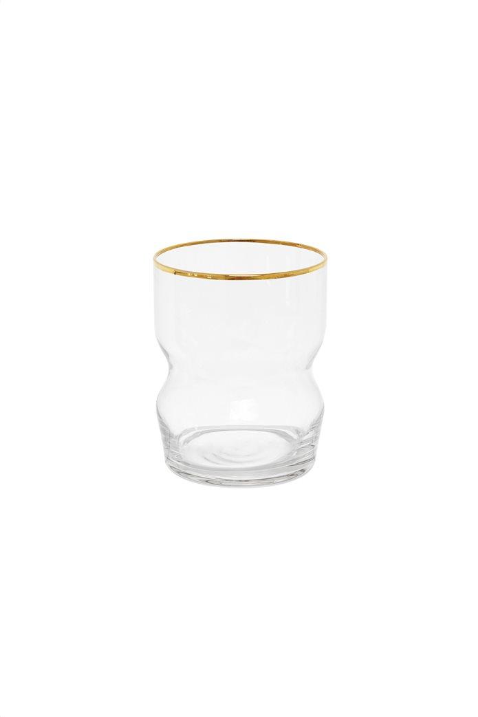 Coincasa γυάλινο ποτήρι με χρυσή λεπτομέρεια 8 x 10 cm 0