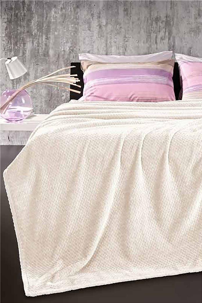 Guy Laroche fleece κουβέρτα μονή ''Rombus Ecru'' 160 χ 220 cm 0