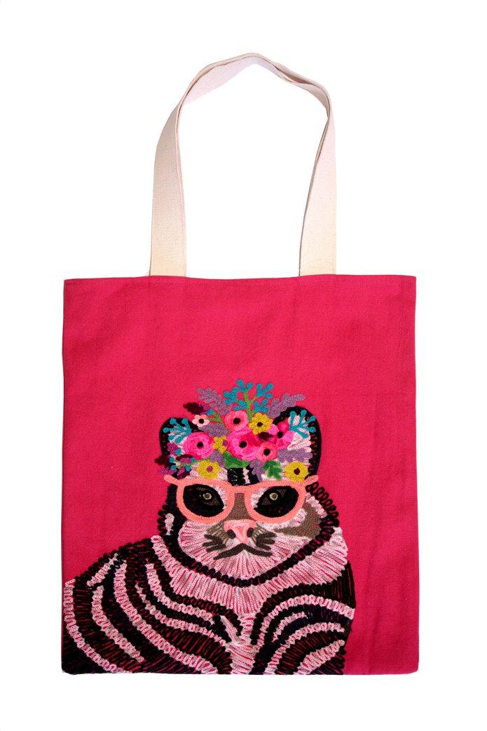 Synchronia γυναικεία τσάντα ώμου με κεντημένο σχέδιο γάτα 0