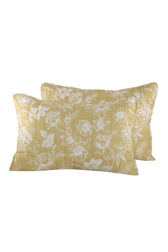 "NEF-NEF σετ μαξιλαροθήκες με floral print ""Correta"" (2 τεμάχια) Μουσταρδί 0"