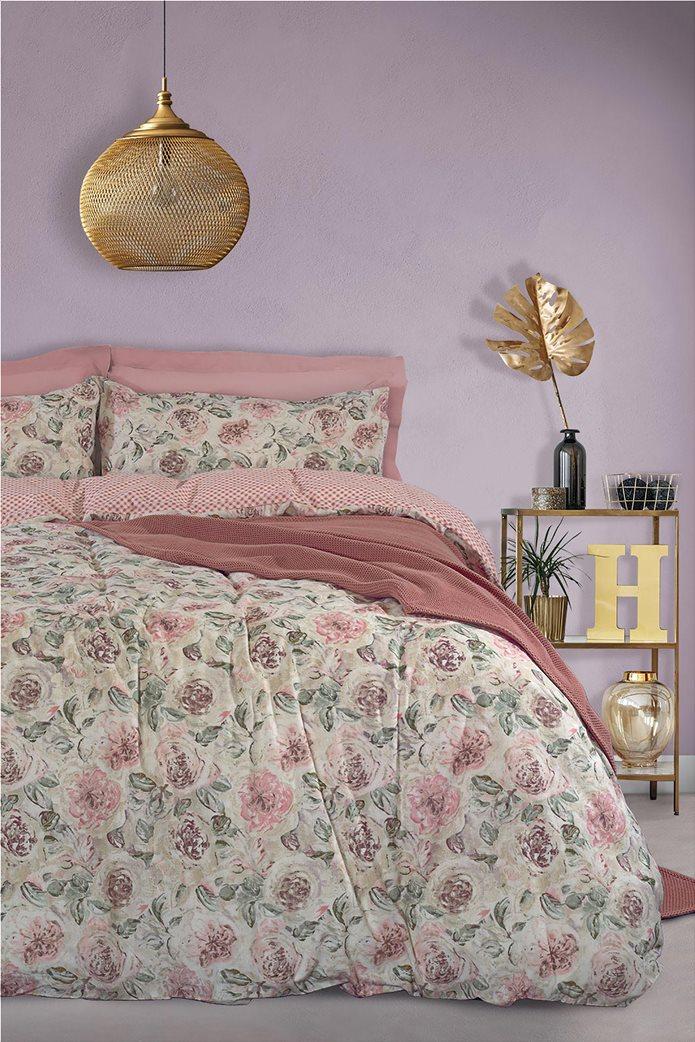 "Das home σετ παπλωματοθήκη υπέρδιπλη με floral print ""Happy Flannel 9490"" (3 τεμάχια) 0"