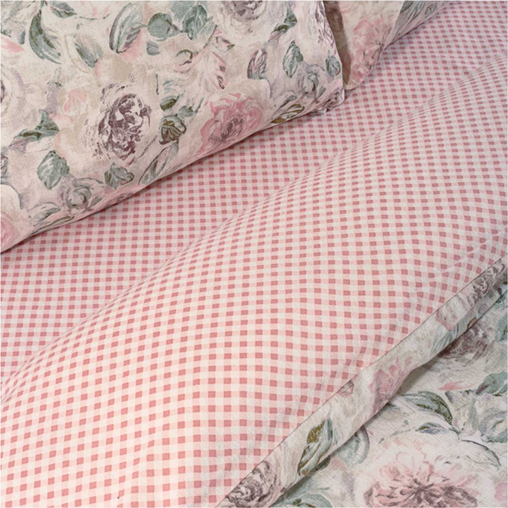 "Das home σετ παπλωματοθήκη υπέρδιπλη με floral print ""Happy Flannel 9490"" (3 τεμάχια) 1"