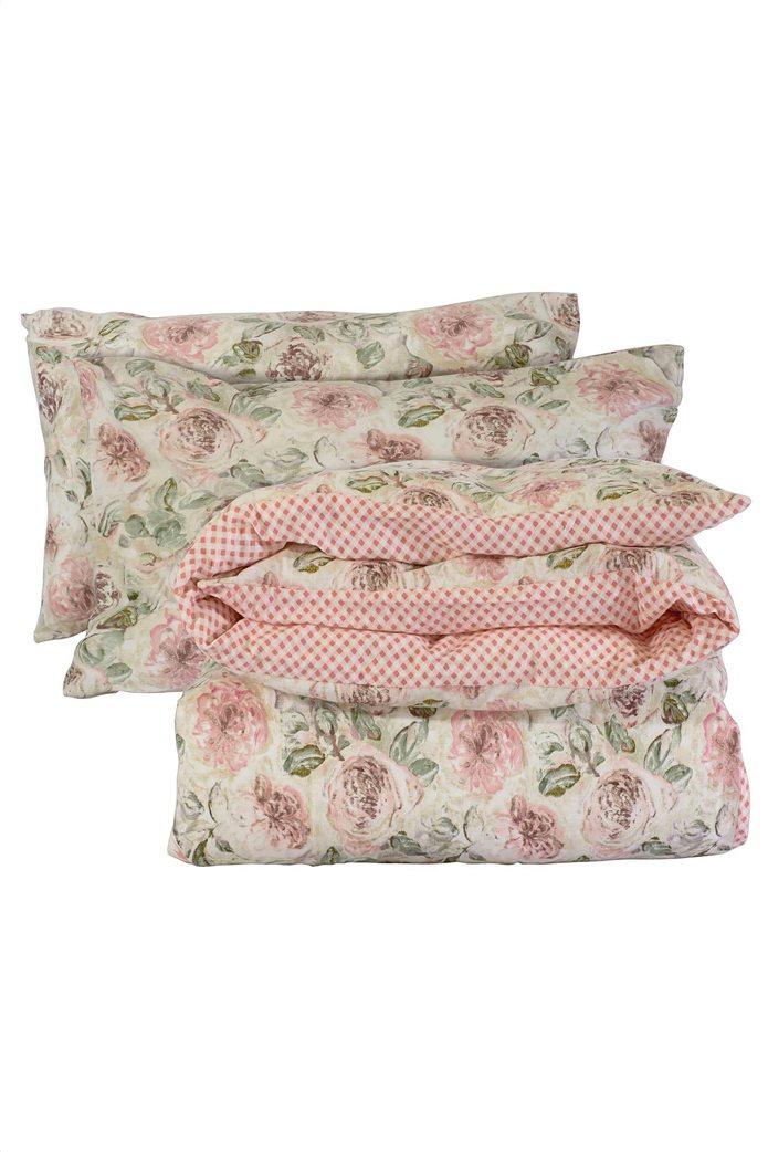 "Das home σετ παπλωματοθήκη υπέρδιπλη με floral print ""Happy Flannel 9490"" (3 τεμάχια) 2"
