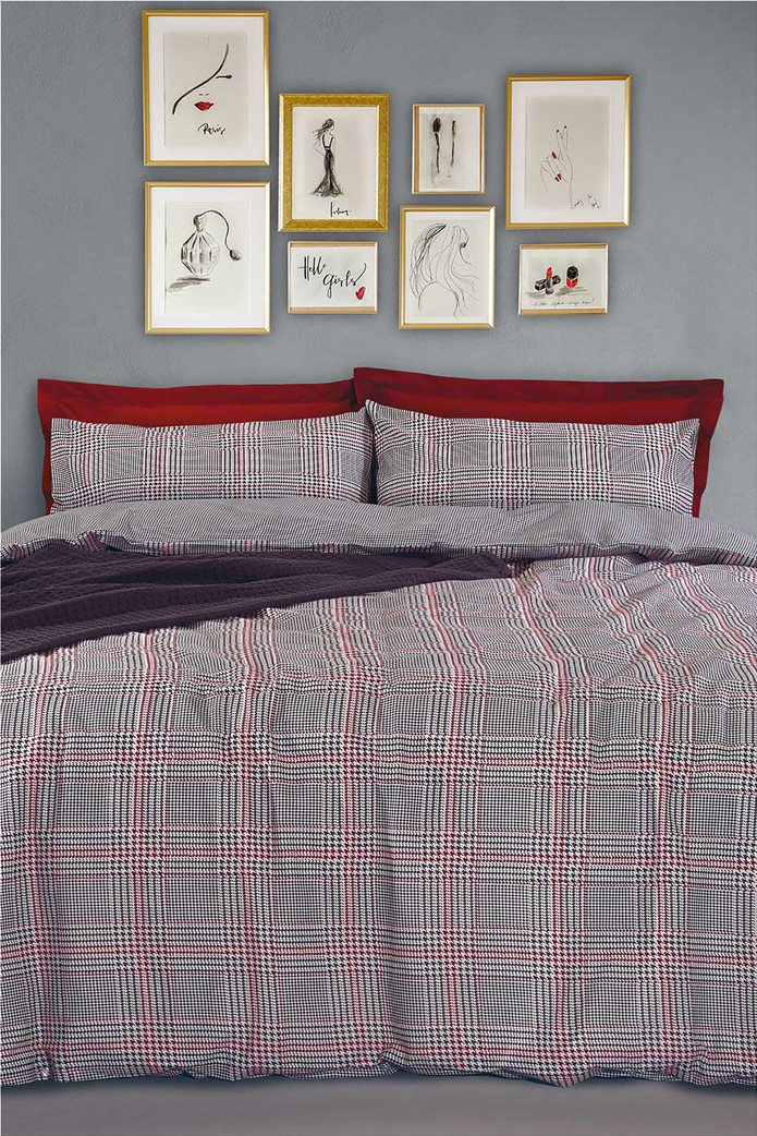 "Das home σετ παπλωματοθήκη υπέρδιπλη με καρό print ""Happy Flannel 9493"" (3 τεμάχια) 0"