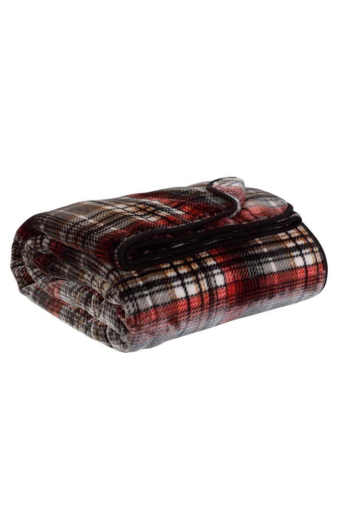 "Das home μονή κουβέρτα velour με καρό σχέδιο ""0451"" 160 x 220 cm 1"