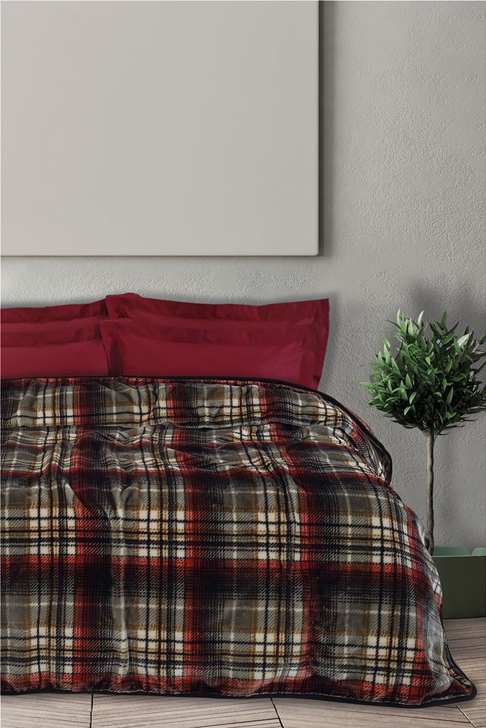 "Das home βελουτέ κουβέρτα υπέρδιπλη καρό ""0451"" 220 x 240 cm Μαύρο 0"