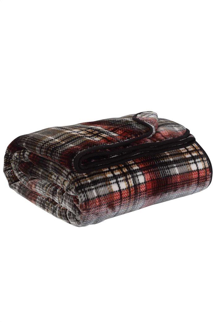 "Das home βελουτέ κουβέρτα υπέρδιπλη καρό ""0451"" 220 x 240 cm Μαύρο 1"