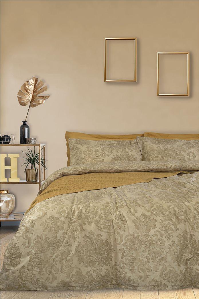 """Das home σετ υπέρδιπλα σεντόνια με floral print """"4742 Best"""" (4 τεμάχια) Μπεζ 0"""