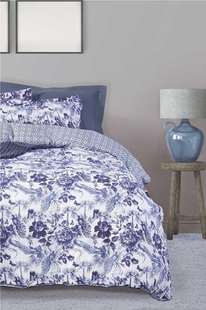"Das home σετ υπέρδιπλα σεντόνια με floral print ""Best 4751"" (4 τεμάχια) Μπλε 0"