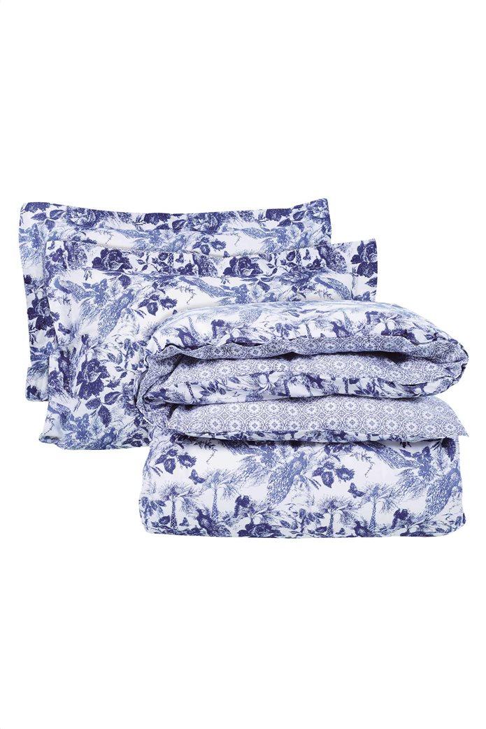 "Das home σετ υπέρδιπλα σεντόνια με floral print ""Best 4751"" (4 τεμάχια) Μπλε 1"