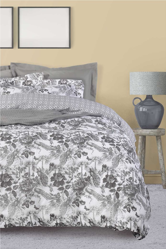 "Das home σετ υπέρδιπλα σεντόνια με floral print ""Best 4752"" (4 τεμάχια) Γκρι 0"