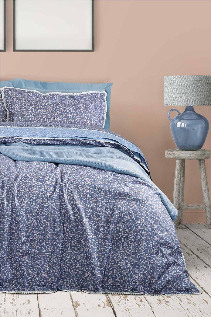 "Das home σετ υπέρδιπλα σεντόνια με floral print ""Prestige 1632"" (4 τεμάχια) Μπλε 0"