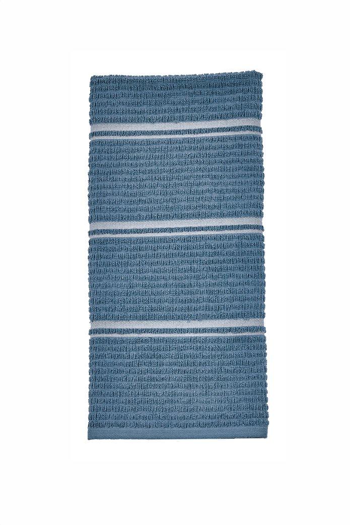 "Kentia πετσέτα κουζίνας με ανάγλυφο και ριγέ σχέδιο ""Nobre 01"" 40 x 60 cm Πετρόλ 0"