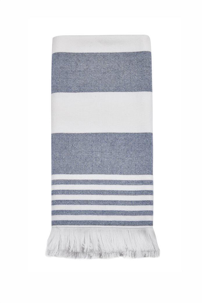 "Kentia πετσέτα κουζίνας με ρίγες και κρόσσια ""Bologna 19"" 40 x 60 cm Λευκό - Μπλε 0"