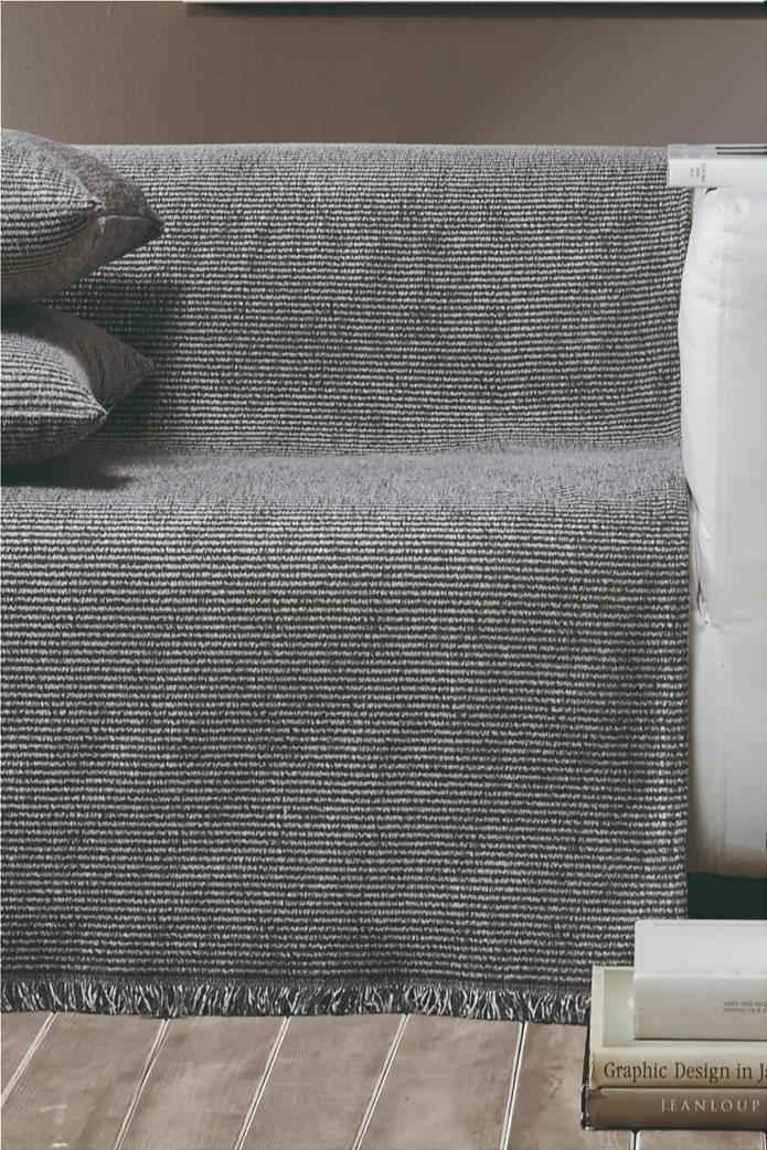 """Kentia ριγέ ριχτάρι τριθέσιου καναπέ με κρόσσια """"Ribbon 24"""" 180 x 300 cm Γκρι 0"""