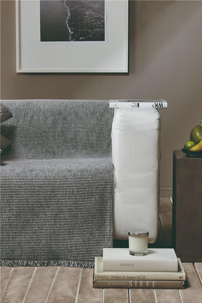 """Kentia ριγέ ριχτάρι τριθέσιου καναπέ με κρόσσια """"Ribbon 24"""" 180 x 300 cm Γκρι 1"""