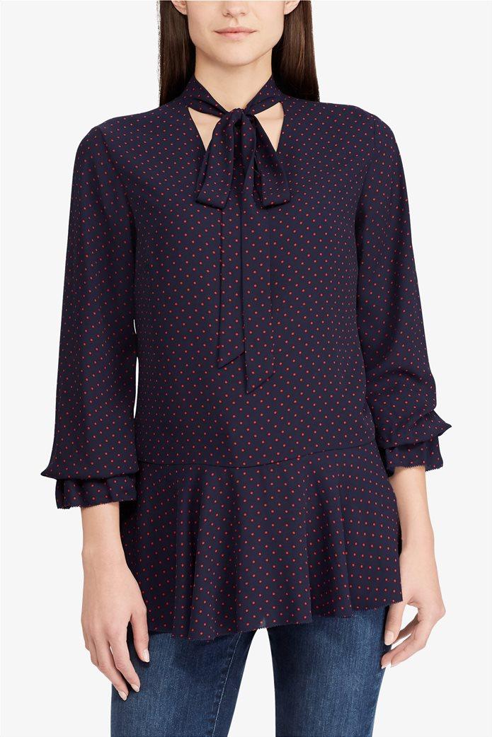 Lauren Ralph Lauren γυναικεία πουκαμίσα πουά Tie-Neck Georgette Top 0