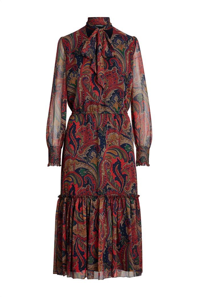 "Lauren Ralph Lauren γυναικείο εμπριμέ midi φόρεμα ζιβάγκο ""Tie-Neck Georgette"" 0"