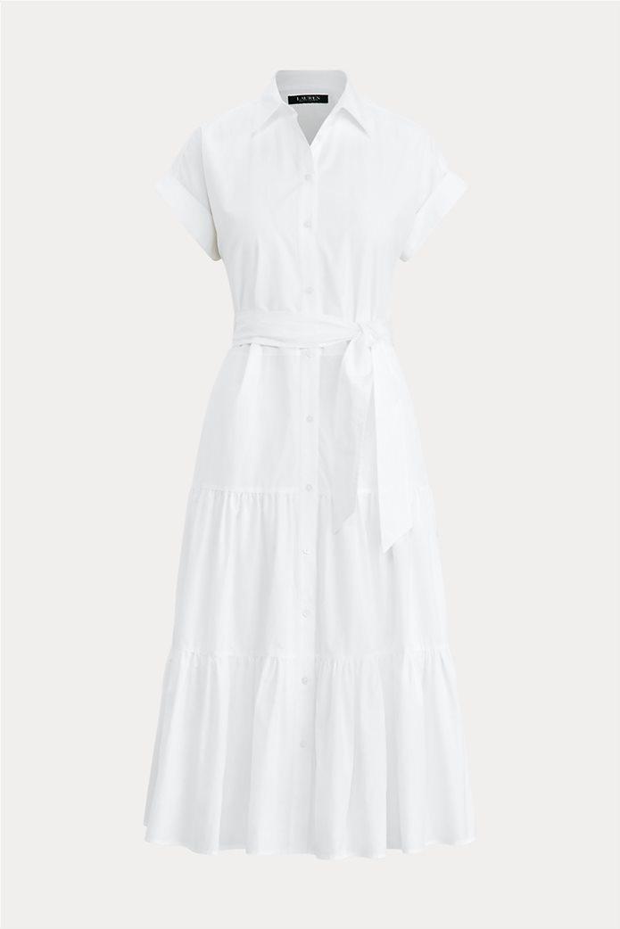 Lauren Ralph Lauren γυναικείο midi φόρεμα σεμιζιέ με βολάν Λευκό 0