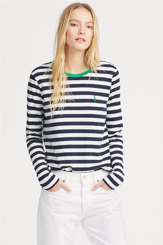 d006dfe8dfe POLO RALPH LAUREN   Polo Ralph Lauren γυναικεία ριγέ μπλούζα Striped Cotton  Μπλε Σκούρο   notos