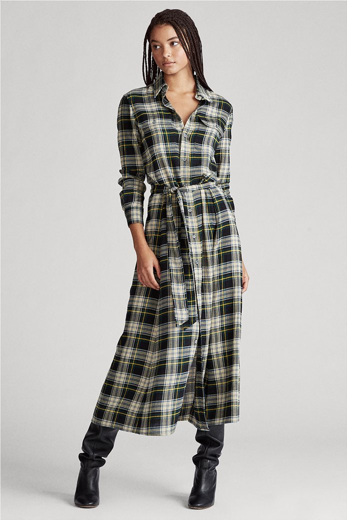"Polo Ralph Lauren γυναικείο καρό maxi σεμιζιέ φόρεμα με ζώνη ""Tartan"" 0"