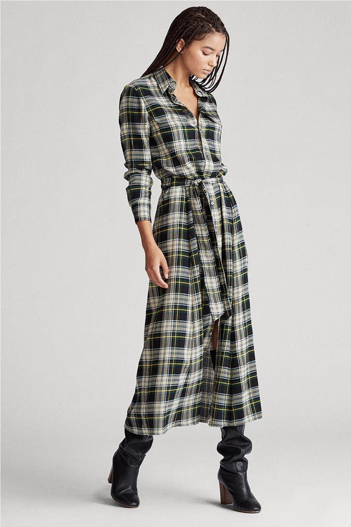"Polo Ralph Lauren γυναικείο καρό maxi σεμιζιέ φόρεμα με ζώνη ""Tartan"" 2"