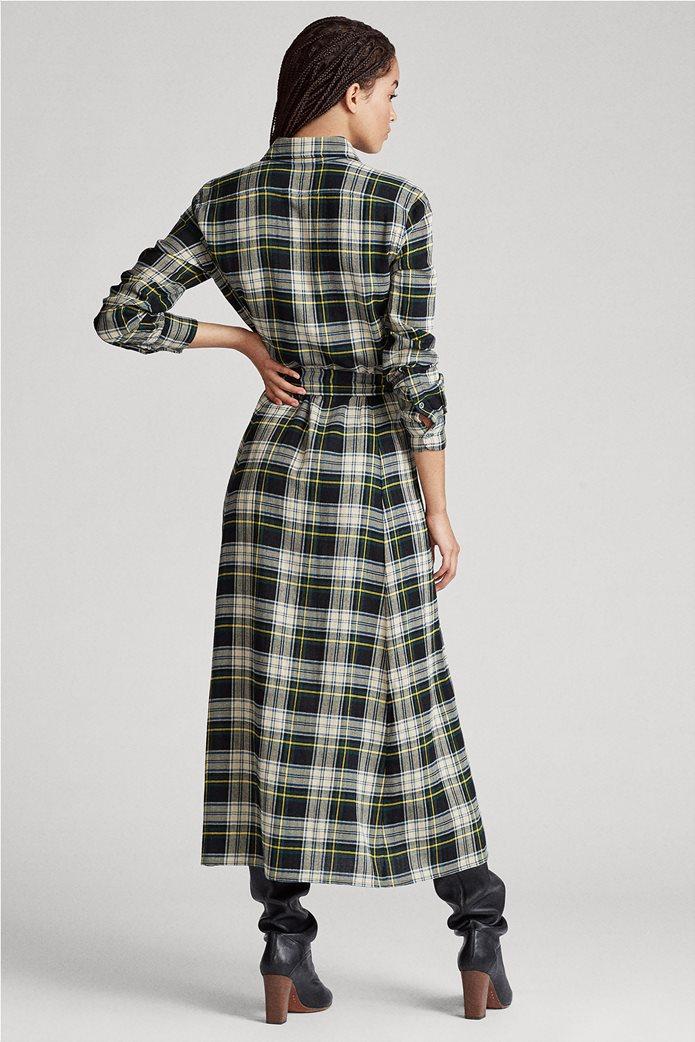 "Polo Ralph Lauren γυναικείο καρό maxi σεμιζιέ φόρεμα με ζώνη ""Tartan"" 3"