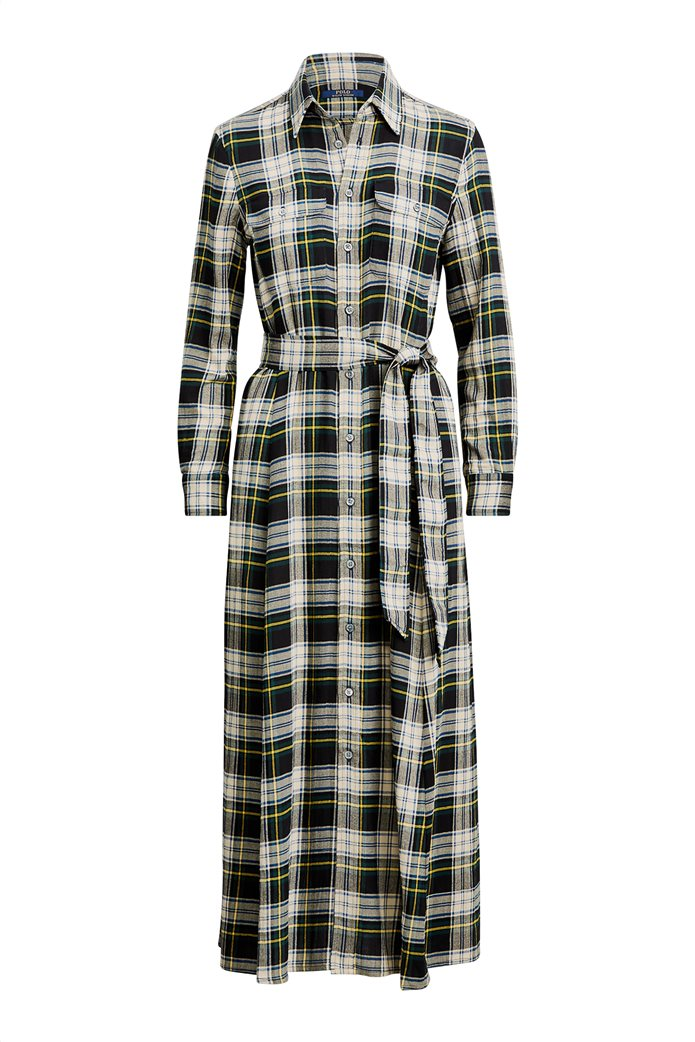 "Polo Ralph Lauren γυναικείο καρό maxi σεμιζιέ φόρεμα με ζώνη ""Tartan"" 5"